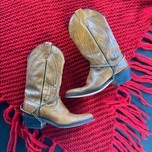 Vintage Wrangler cowboy boots w/boot chains